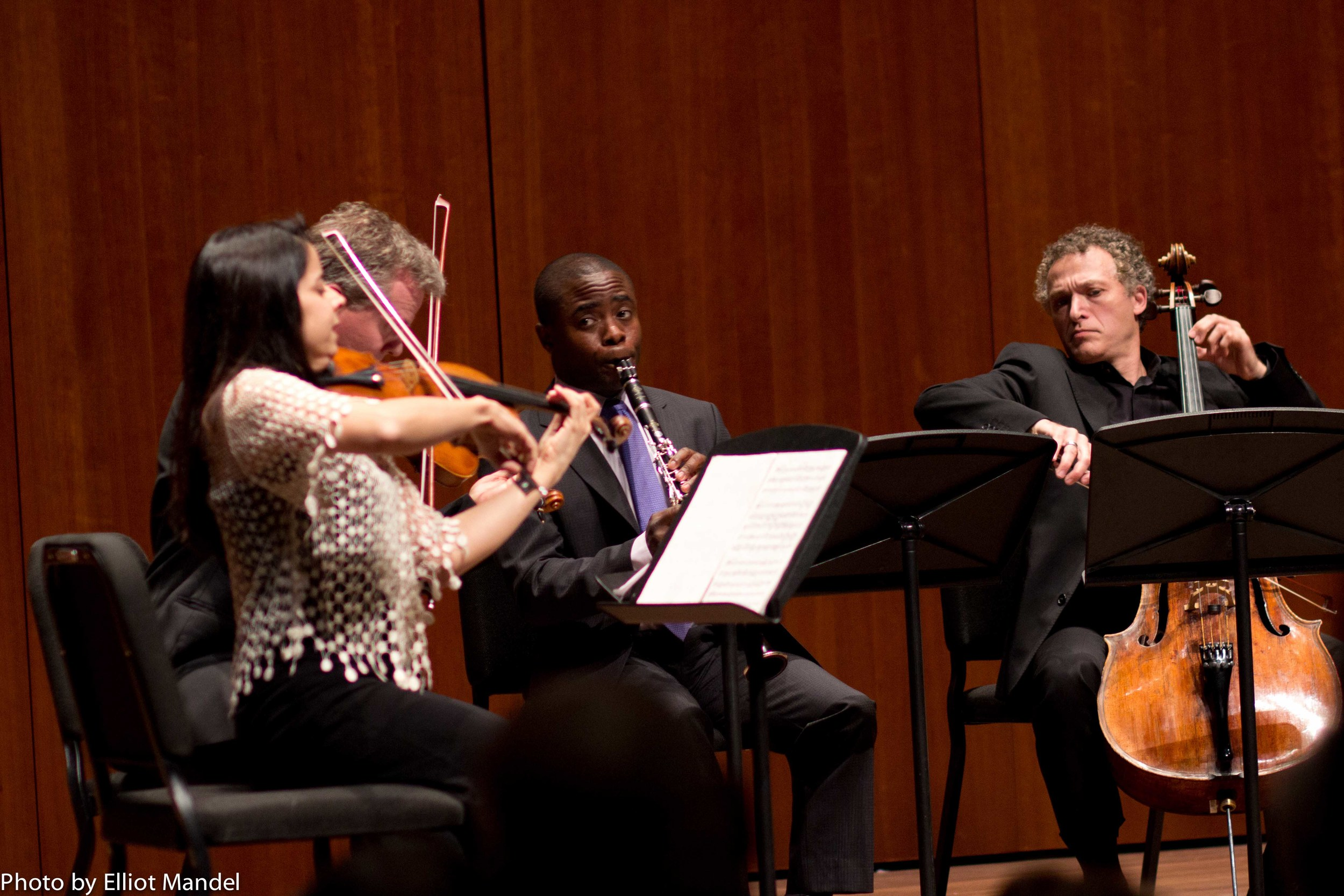Clarinetist Anthony McGill and the Pacifica Quartet during Mozart's Clarinet Quintet.