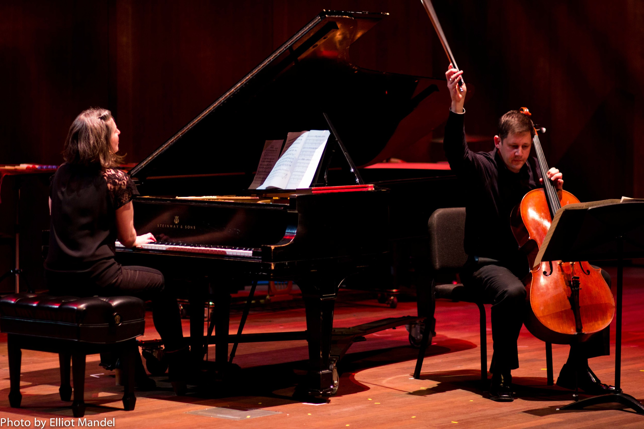 eighth blackbird's Lisa Kaplan (piano) and Nicholas Photinos (cello).