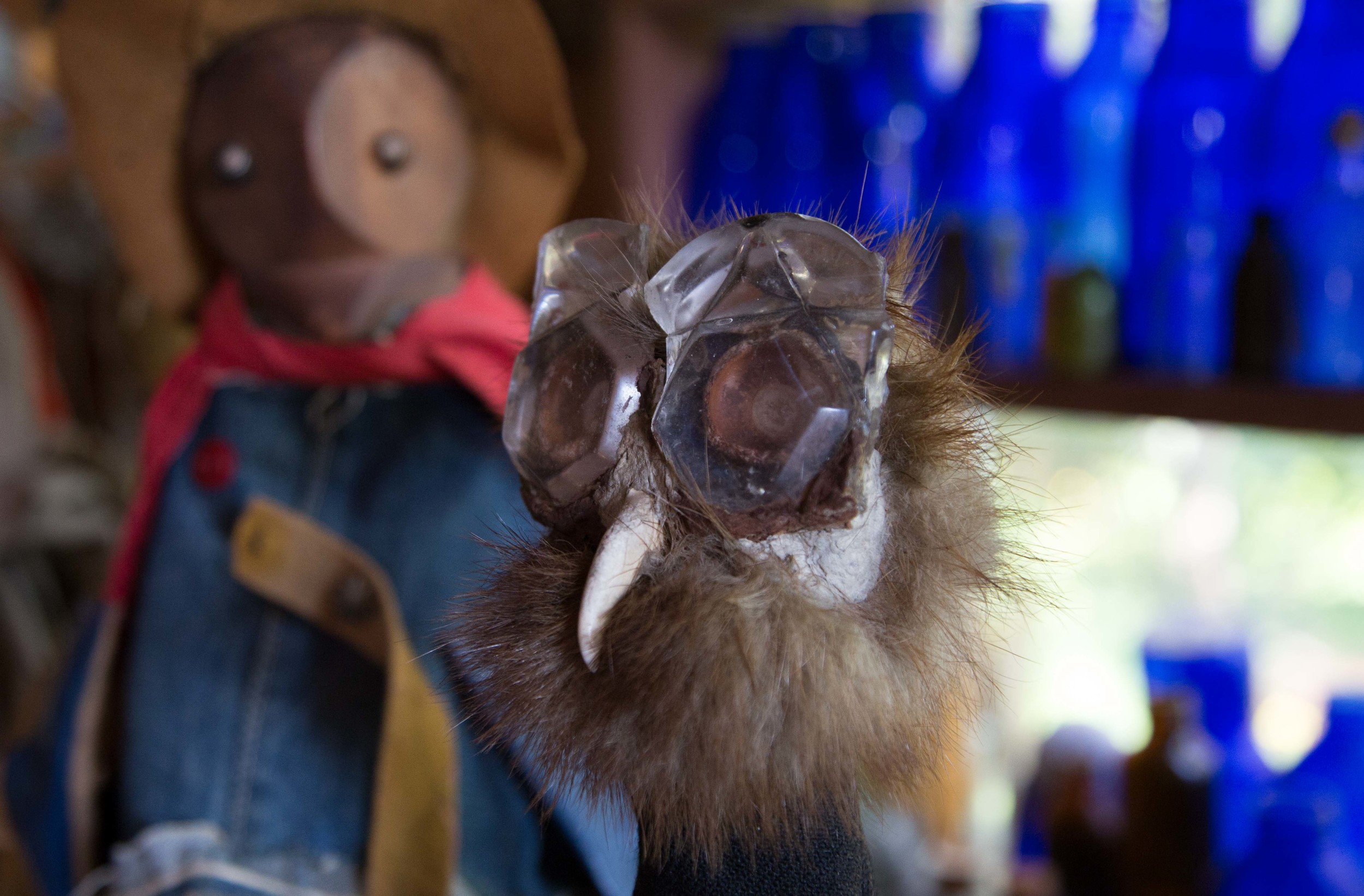 Ashley's hand-made puppets constructed from found objects along the rocky shores of Islesford.