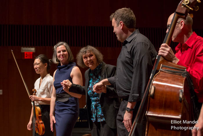 Sofia Gubaidulina (center) takes a bow with eighth blackbird.