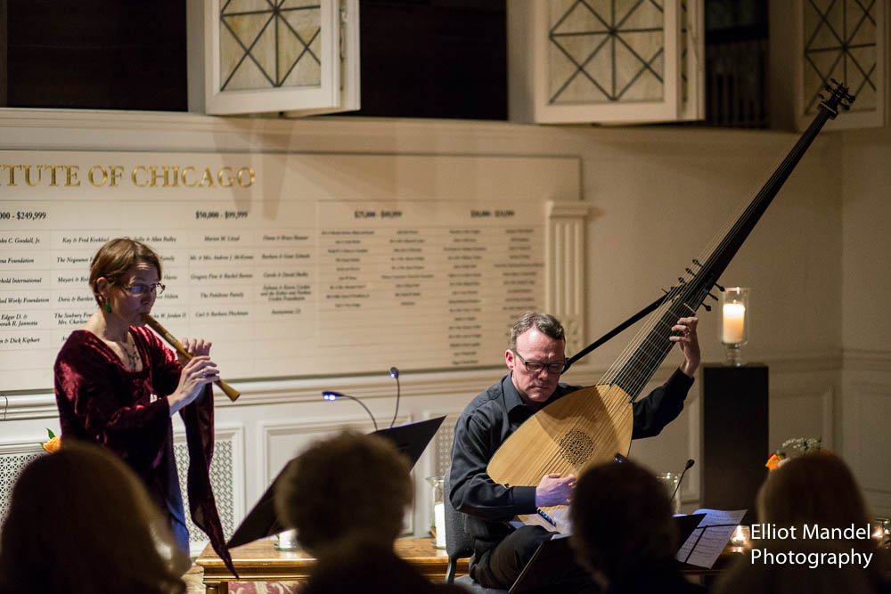 Mirja Lorenz (recorder) and Joel Spears (theorbo) perform early Baroque music by candlelight.