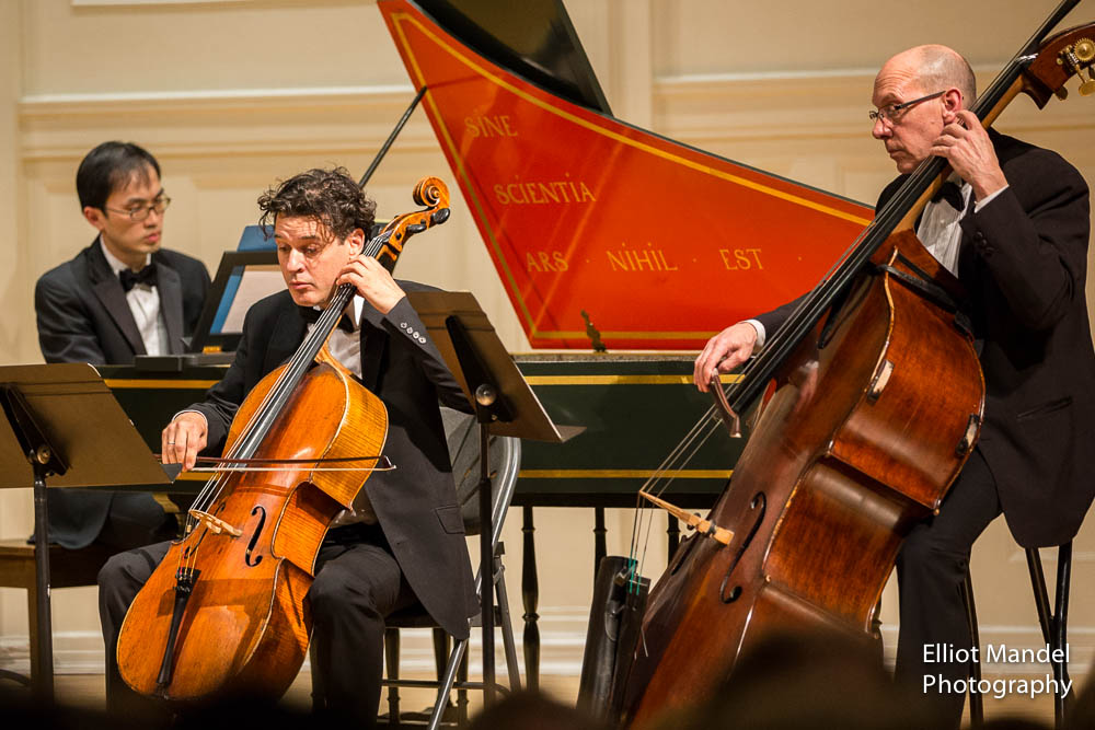 Harpsichordist Jason Moy, cellist David Cunliffe, bassist Collins Trier