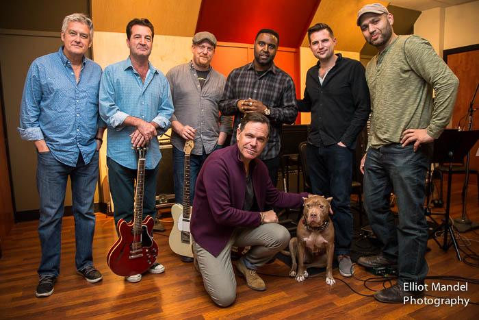 L-R: Producer Rob Mounsey, John McLean, Clark Sommers, Kendrick Scott, Stu Mindeman, engineer Vijay Tellis-Nayak, Kurt Elling at Transient Sound Studios, Chicago.