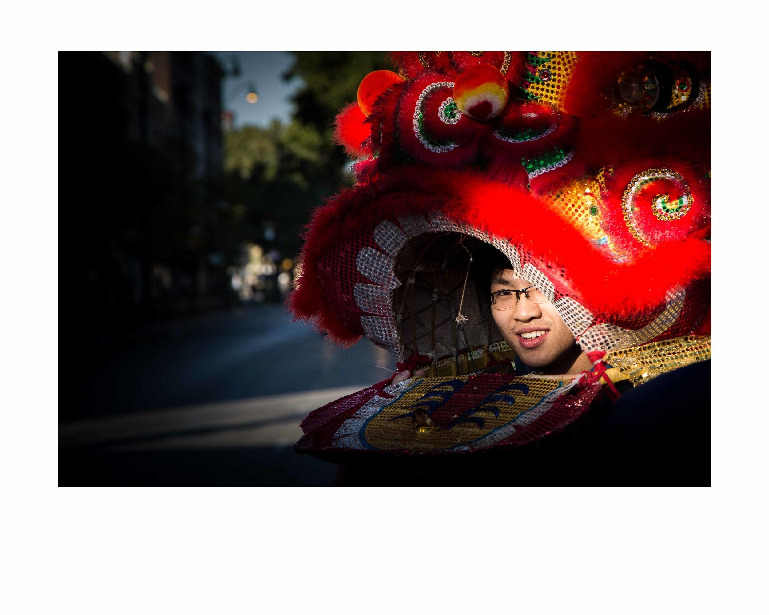 Lion Dancer 1.16x20 framed. $150