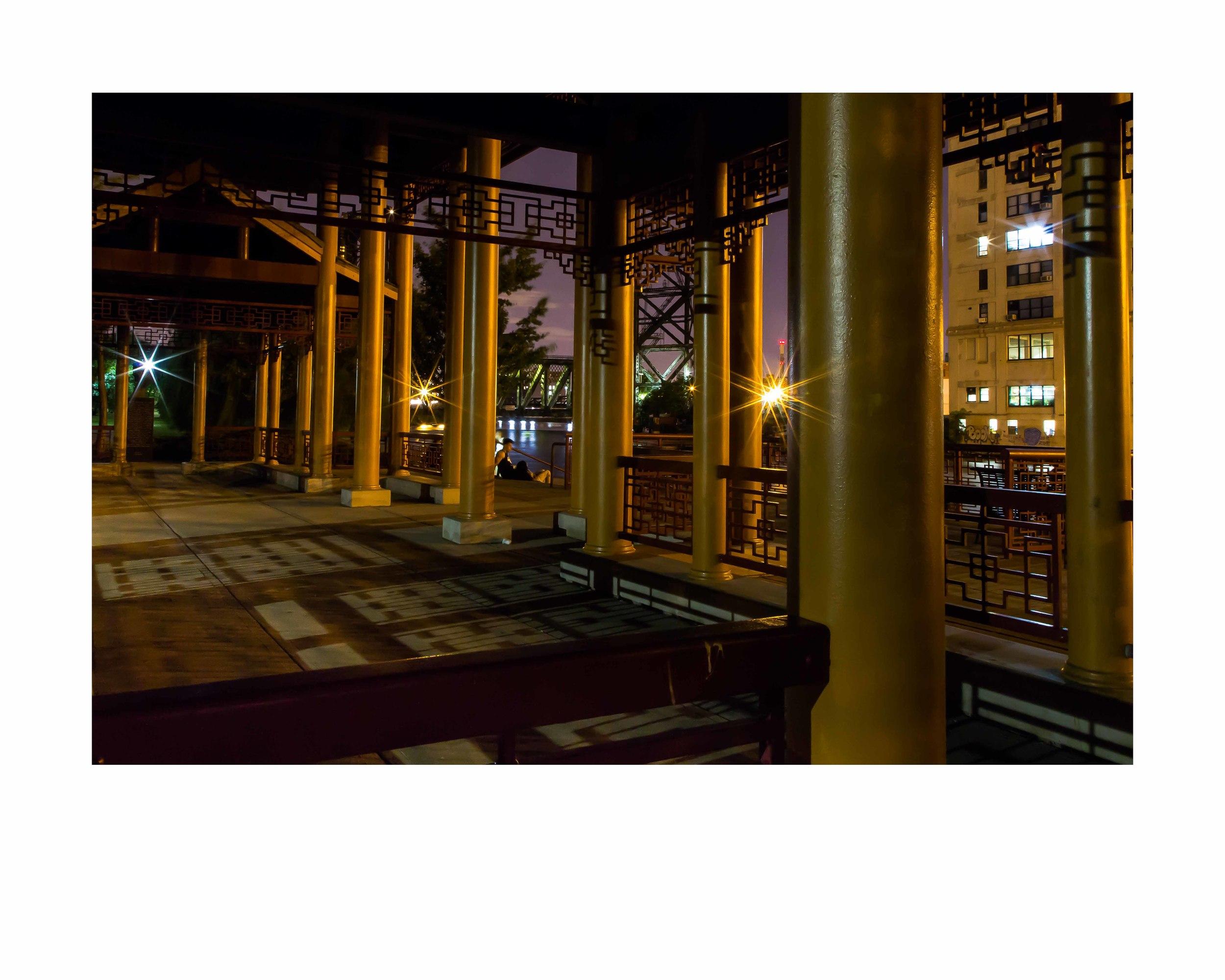 Pagoda Dusk.16x20 framed. $150