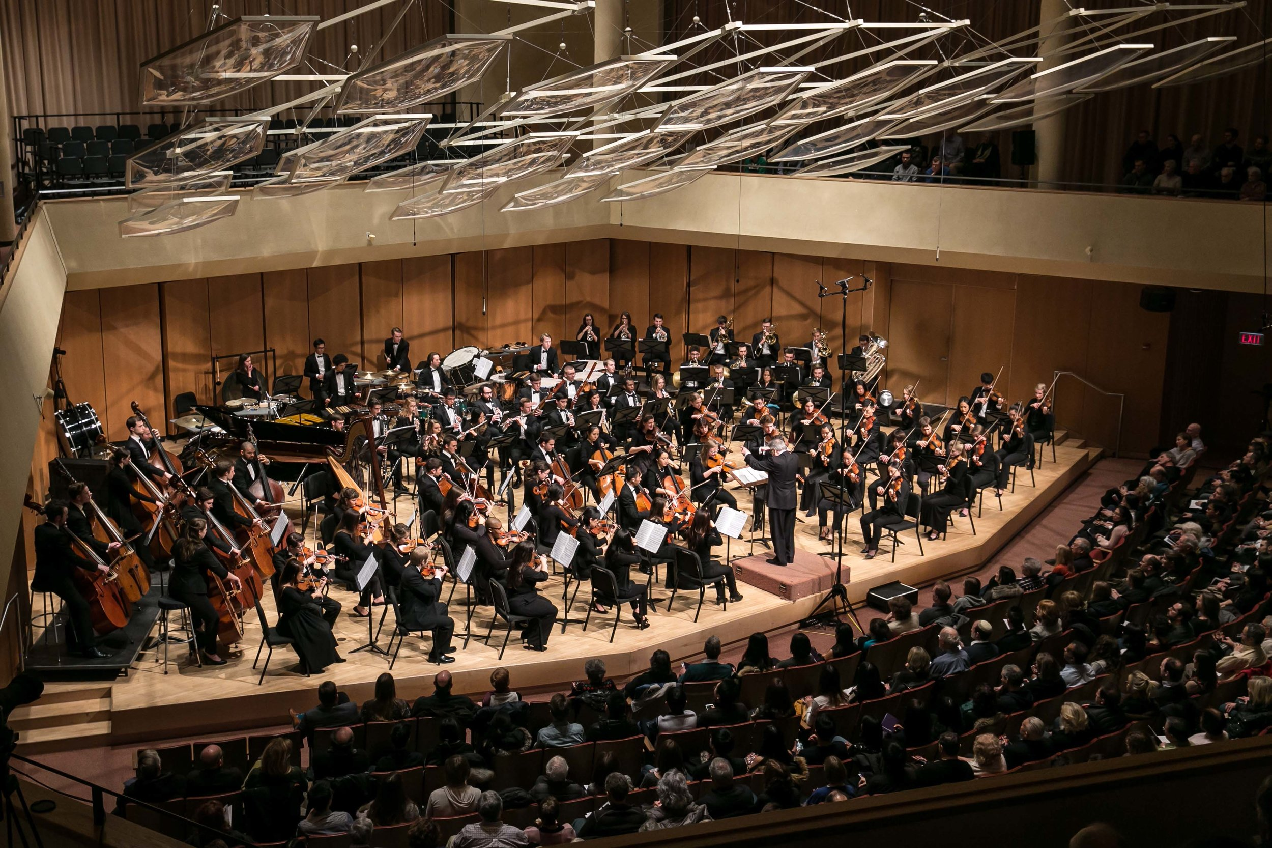 Victor Yampolsky leads the Northwestern University Symphony Orchestra before a packed house at Pick-Staiger Concert Hall, February 3, 2018.