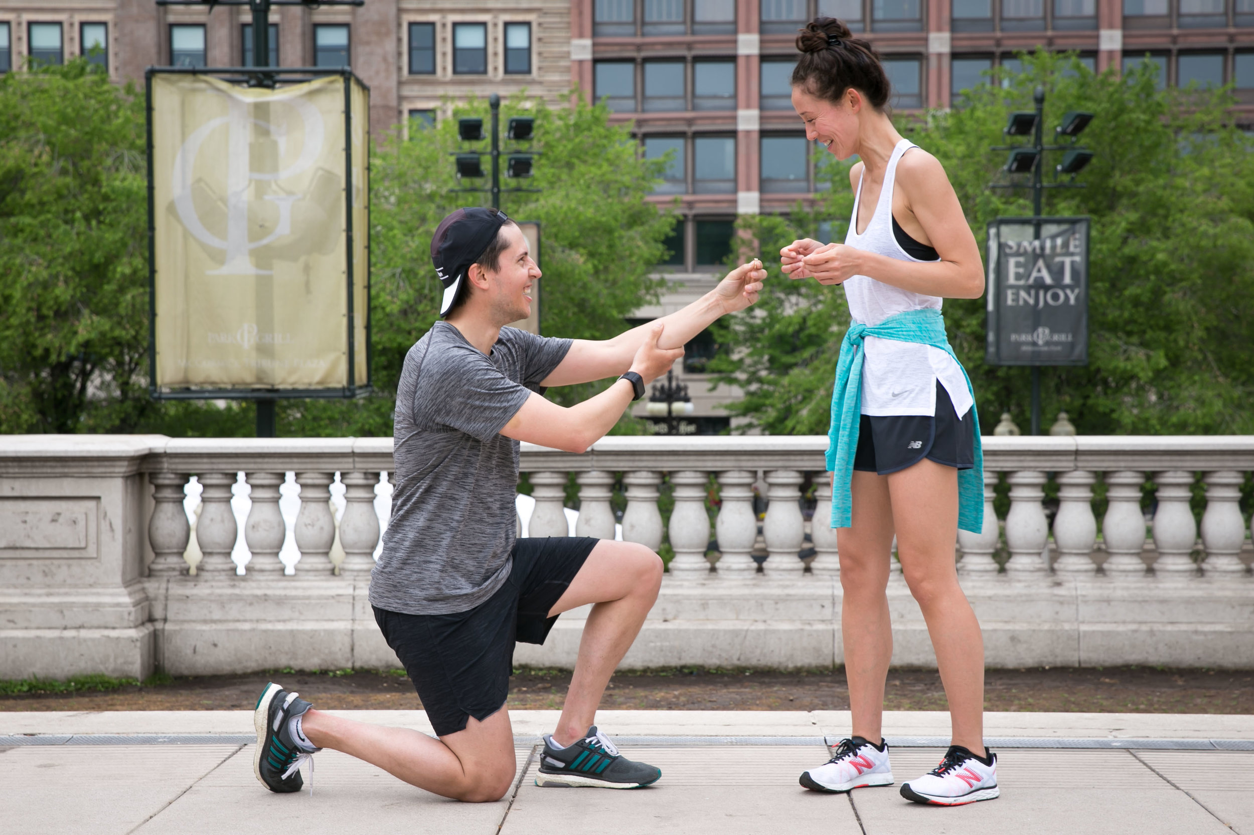 Jamie surprises Erica after a run with a ring.