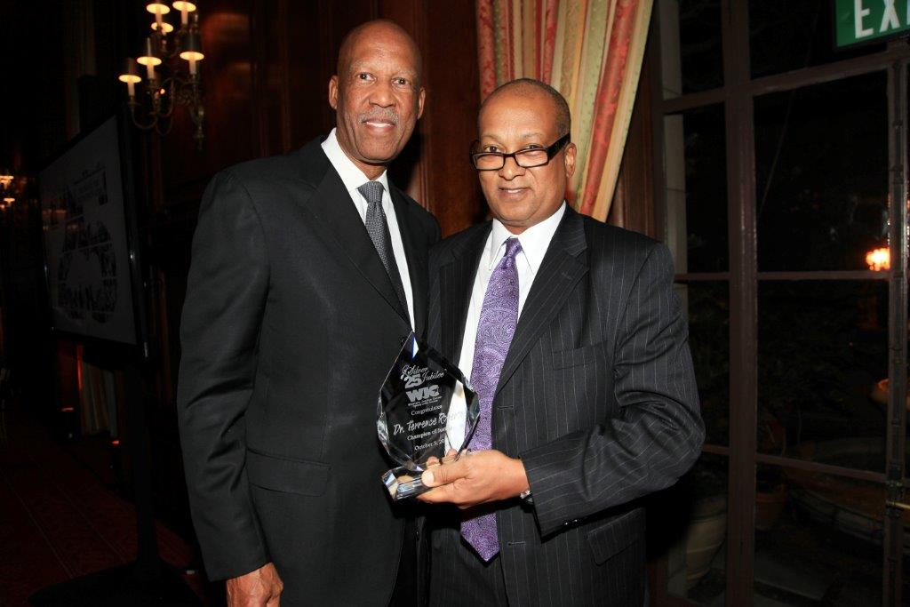 "California Court of Appeal Associate Justice and  WJC Board Member, Jeffrey W. Johnson, saluted Dr. Terrence J. Roberts, principal of Terrence Roberts Consulting and fellow WJC Board Member, with the  Champion of Justice  award.    Dr. Terrence J. Roberts is one of the ""Little Rock Nine,"" the group of African-American students who, in 1957-58, were escorted to school every day by federal troops by order of President Eisenhower as they desegregated Central High School in Little Rock, Arkansas.  Since that time, Dr. Roberts has continued to focus on how best to build positive human relations through celebrating racial, ethnic and cultural diversity.  As a member of the WJC Board of Directors, Dr. Roberts exemplifies the organization's mission of peaceful resolution of conflict."