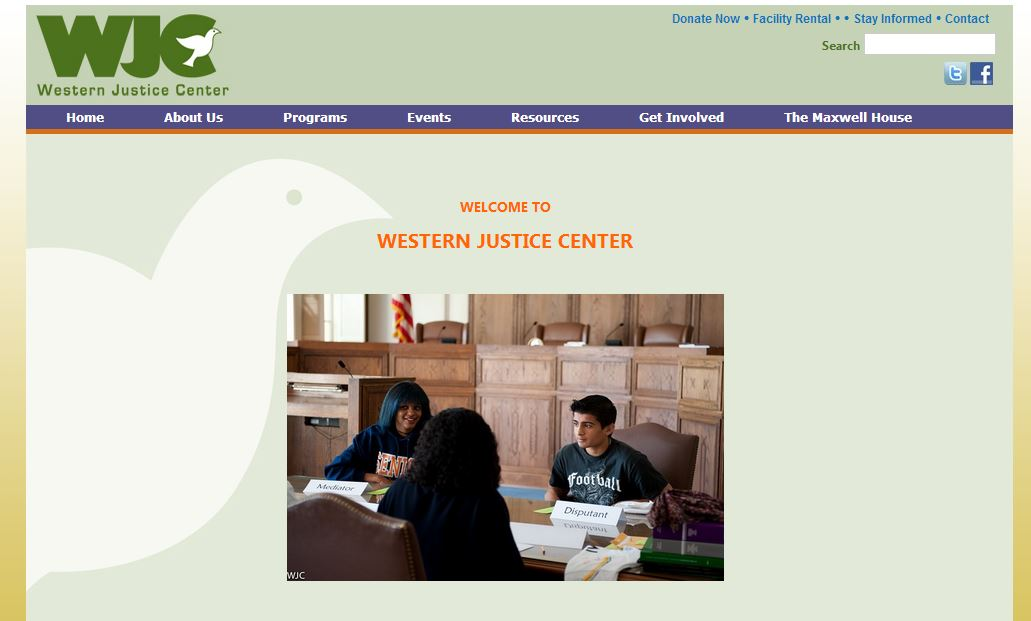 Previous westernjustice.org homepage.
