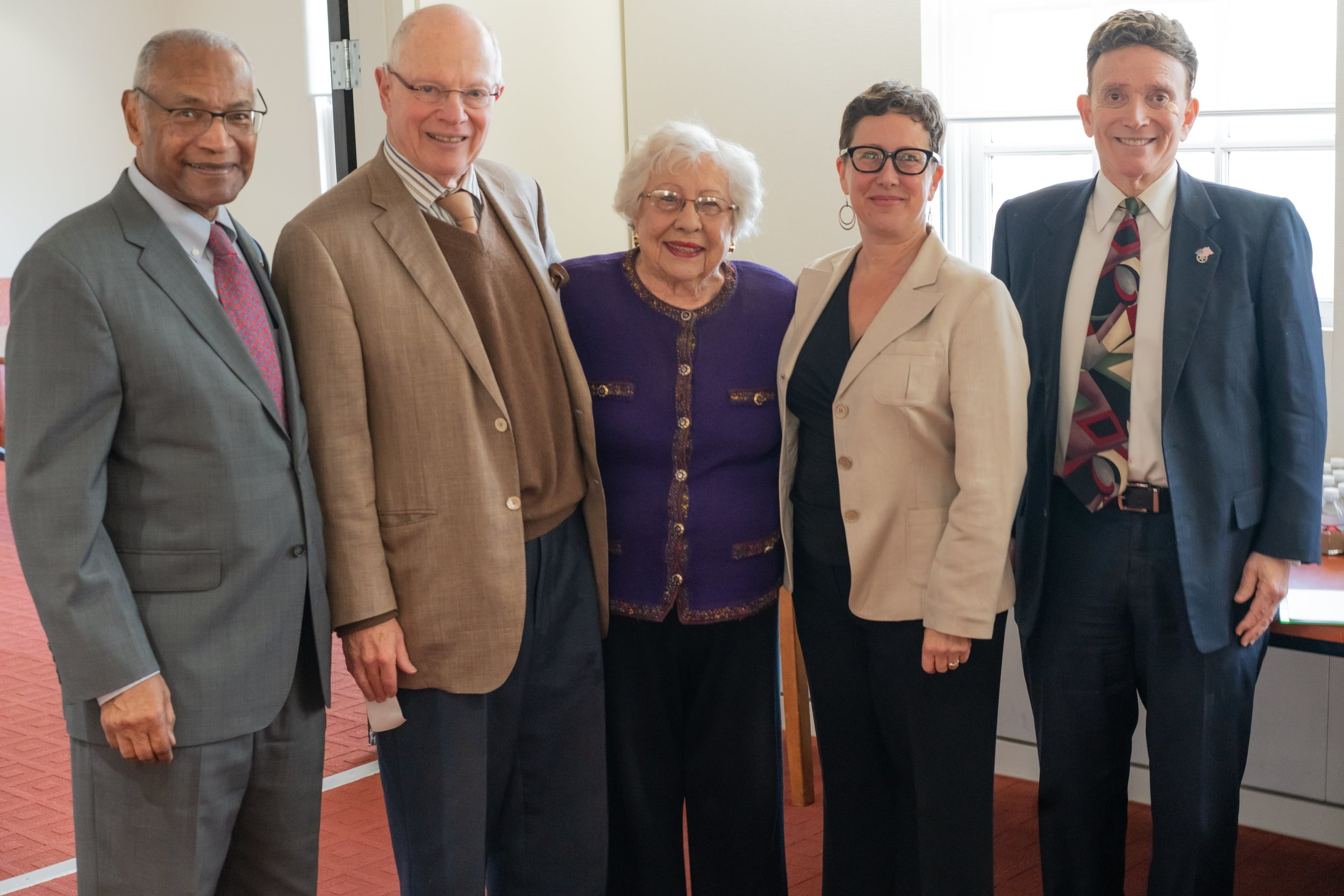 Board members Judge Terry Hatter, Max Factor, founder Judge Dorothy Nelson, Executive Director Elissa Barrett, and board member Judge Barry Russell.