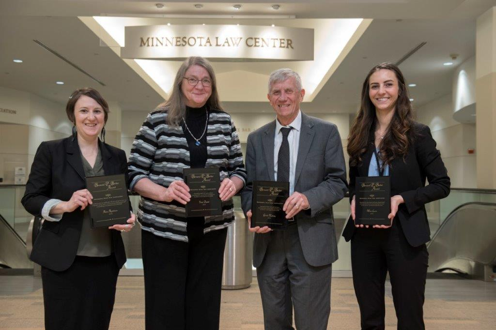 (L to R) Anne Applebaum, Immigrant Law Center of Minnesota; Irene Opsahl, Mid-Minnesota Legal Aid; Gerald Kaluzny, Southern Minnesota Regional Legal Services; Mimi Levin, University of St. Thomas