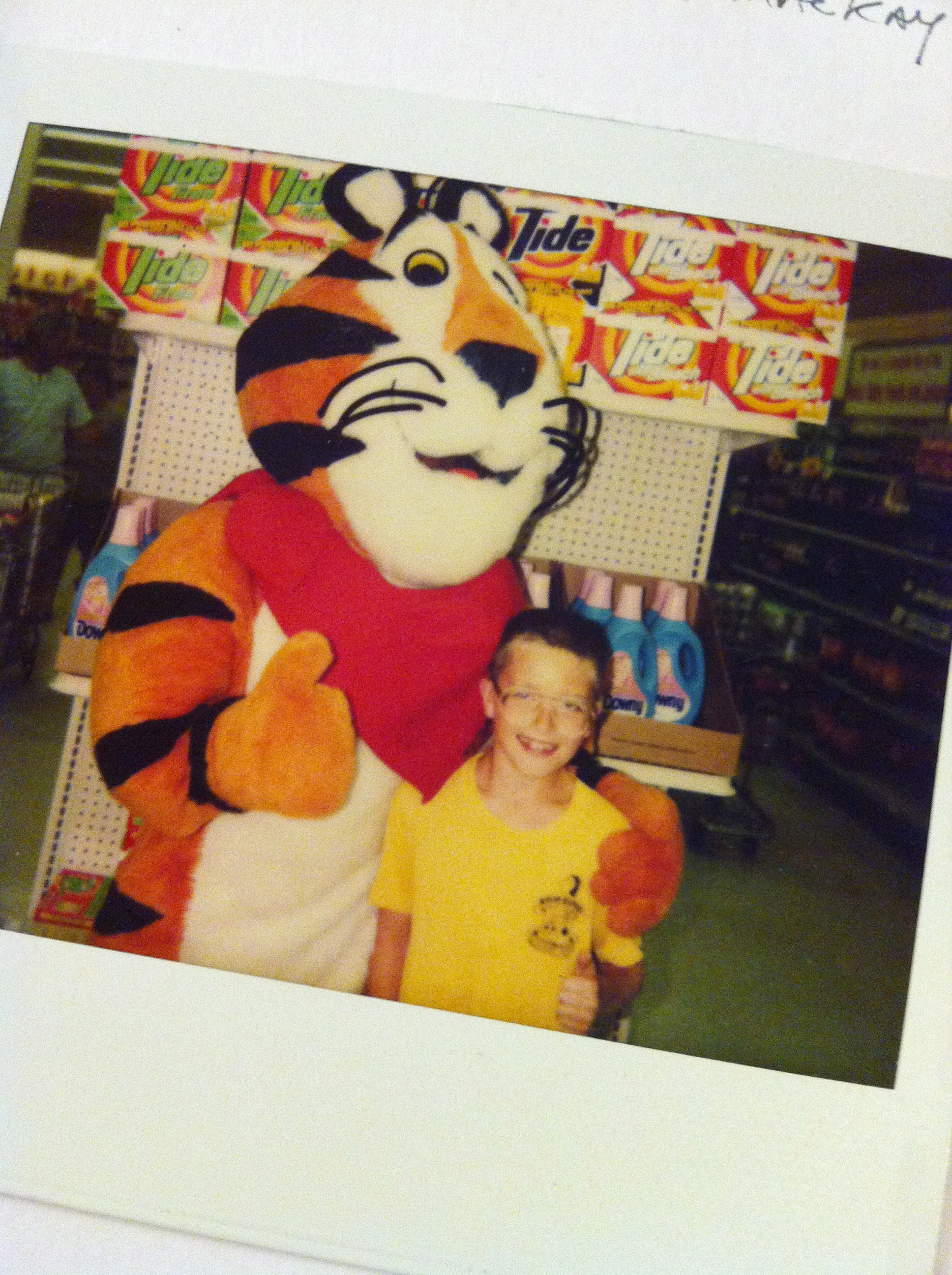 Meeting my hero Tony the Tiger. Later in life I learned he was responsible for giving me diabetes. Still…BEST DAY EVER!
