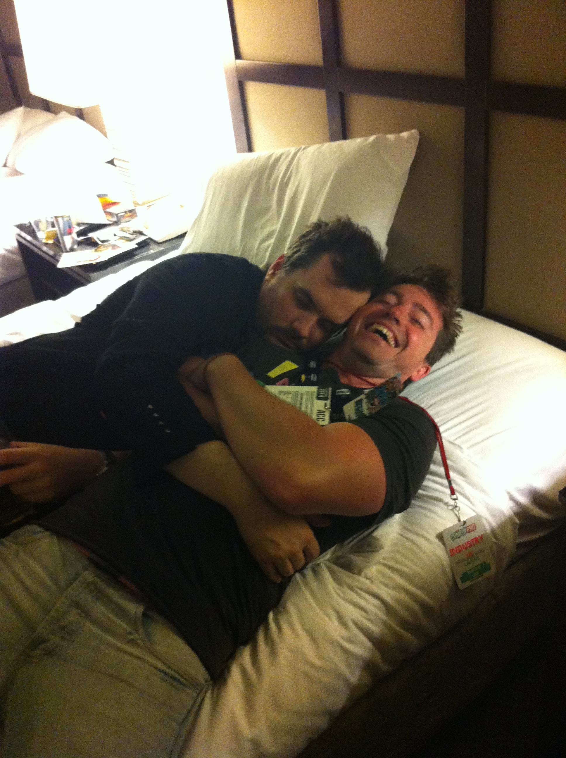 Jim Jefferies passed out on me.     Famous Australian comedians find the strangest places to pass out....on top of less famous Canadian comedians (Just For Laughs, Montreal 2014)