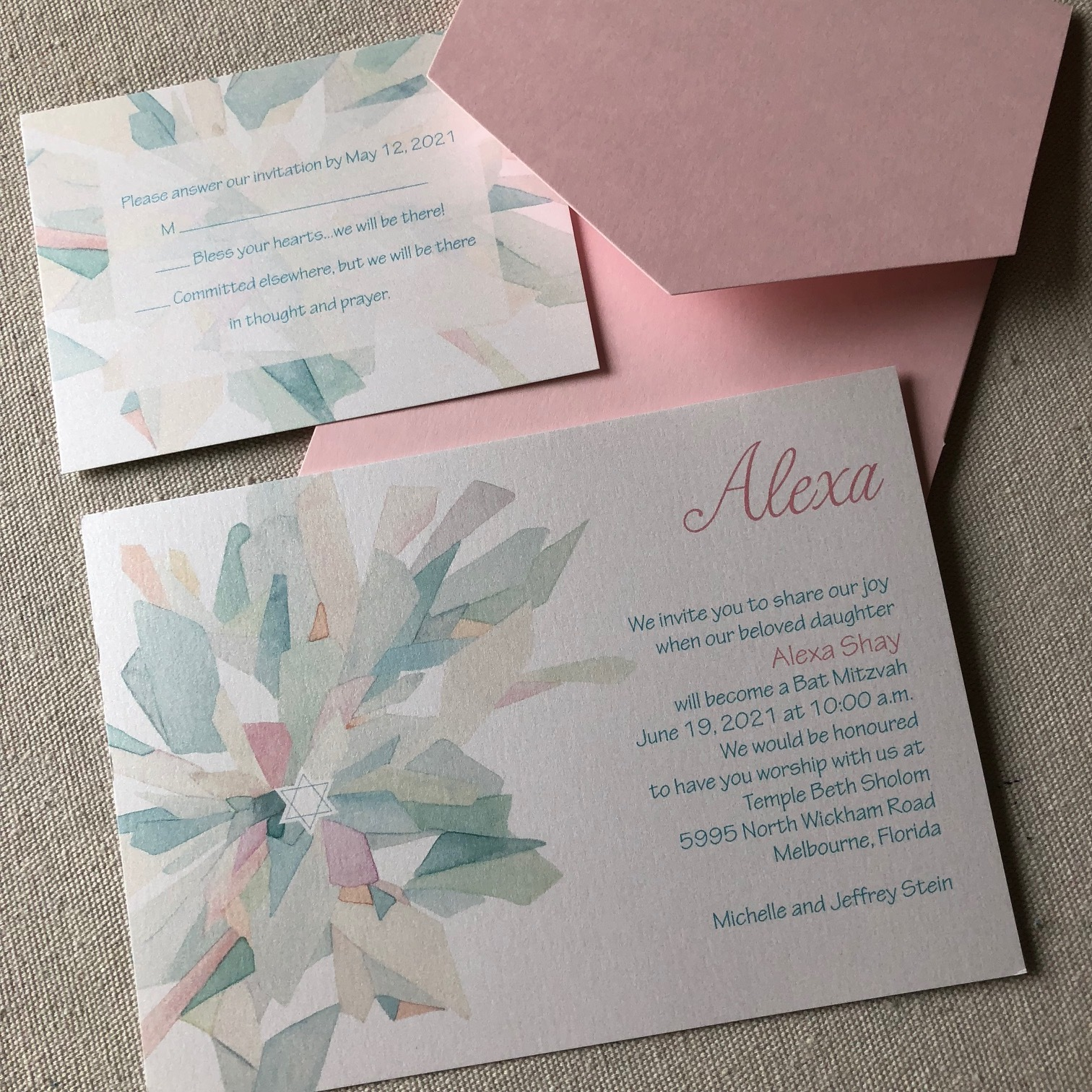 Shell Rummel Bat Mitzvah Invitations