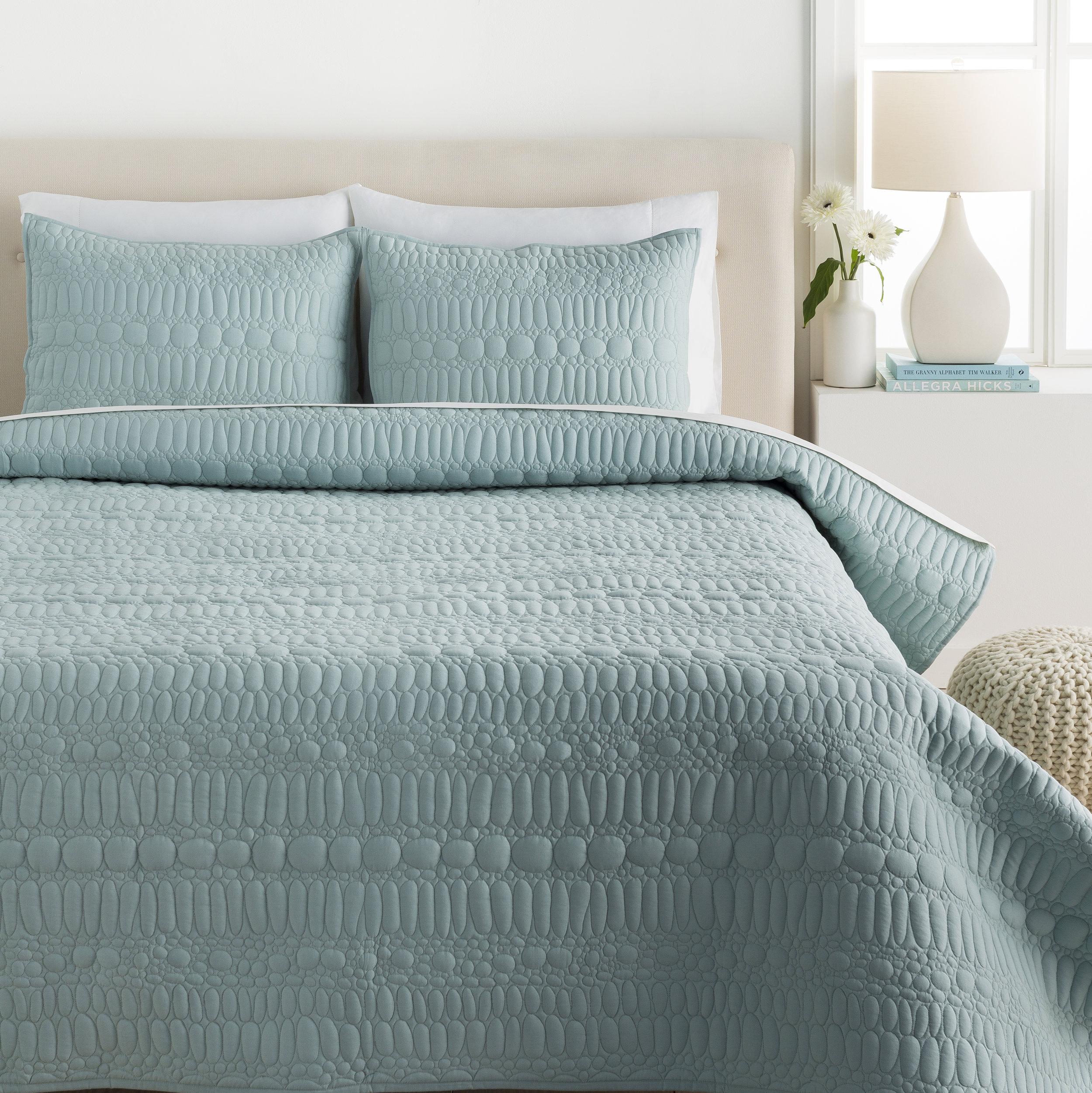 Shell Rummel Aqua Pebble Quilt set from Surya