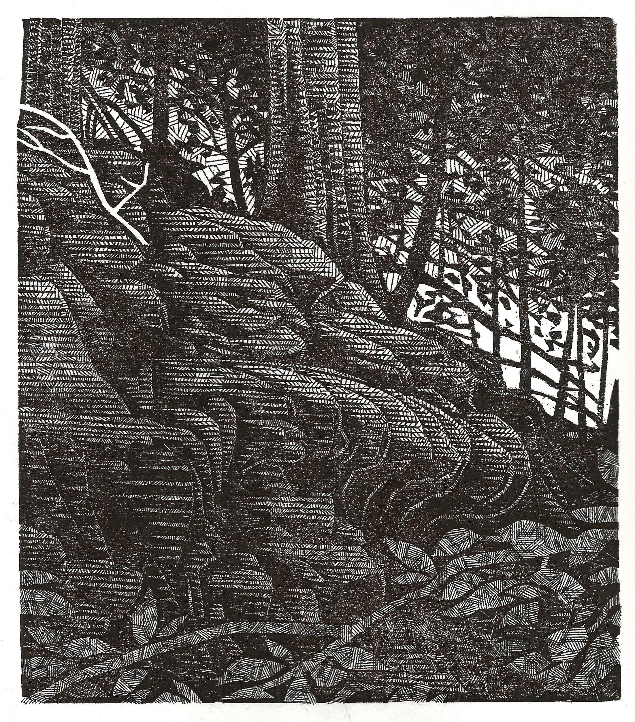 Relief print, pen & ink, 2014