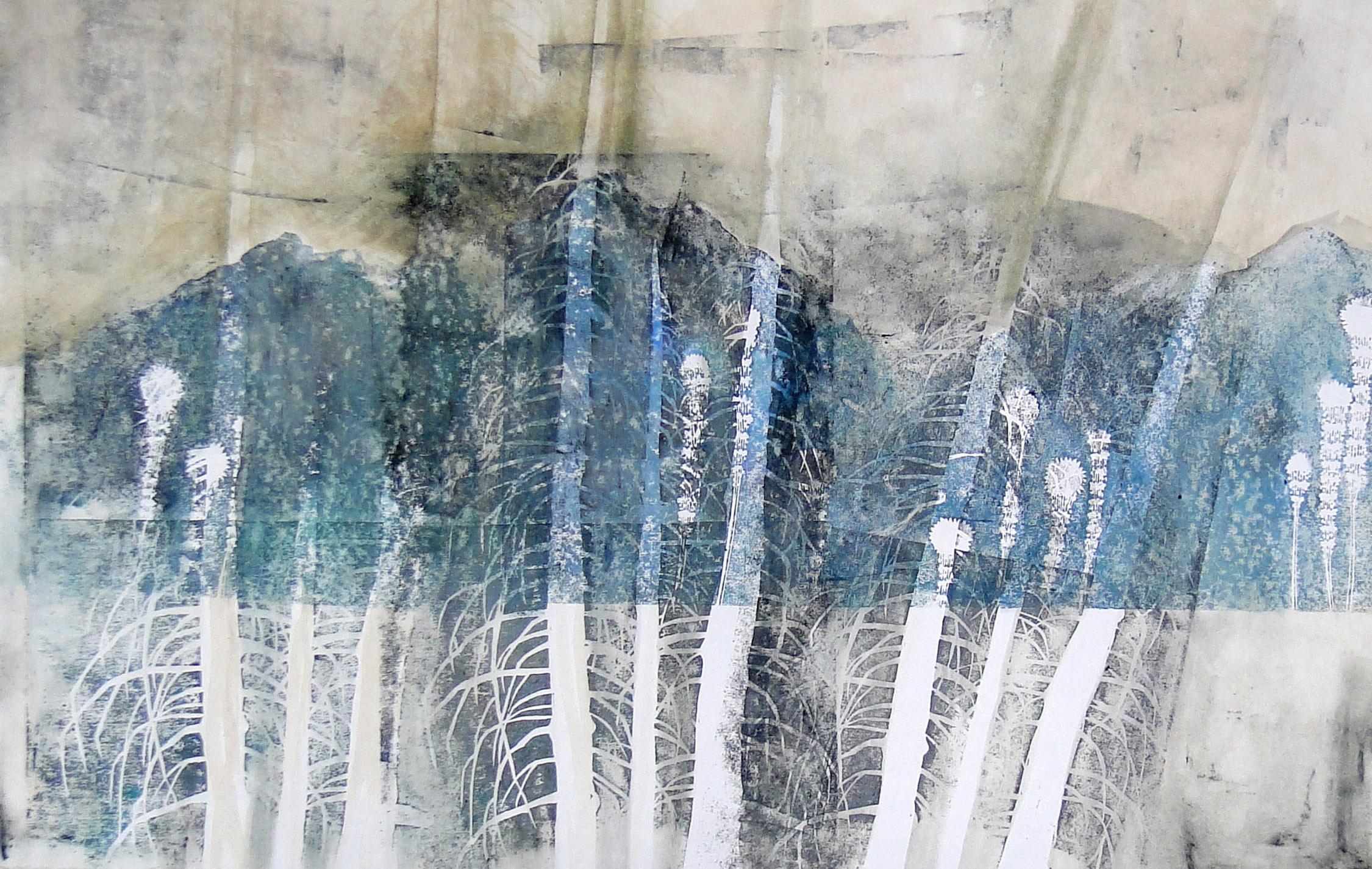 Relief print, watercolor, 2013