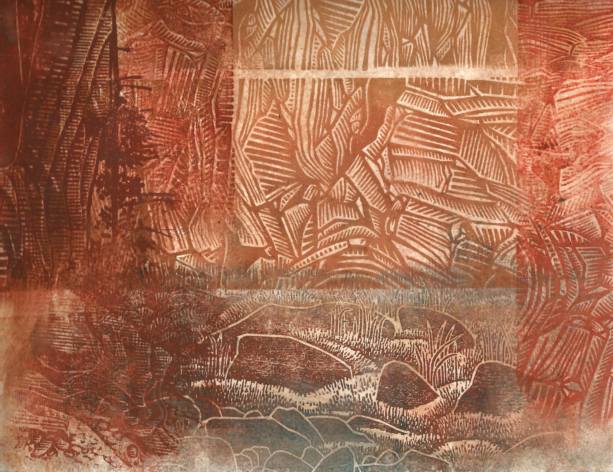 Relief print, watercolor, 2014