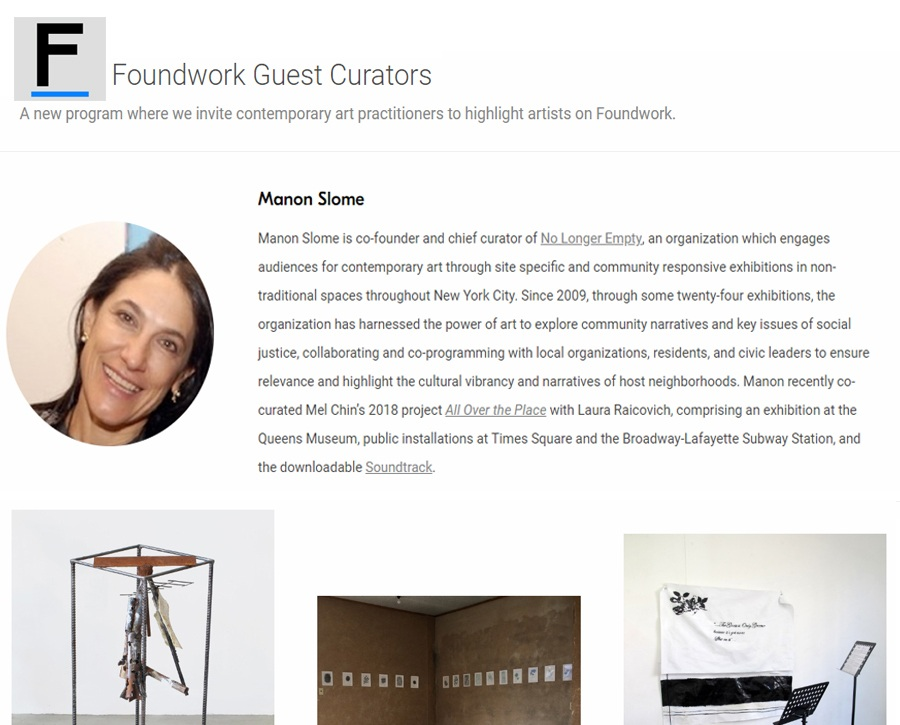 Curatorial Review: Foundwork Guest Curator's highlight, selected by Manon Slome, January 3, 2019