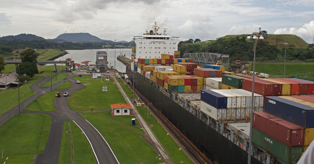 The Box Queen entering the Panama Canal