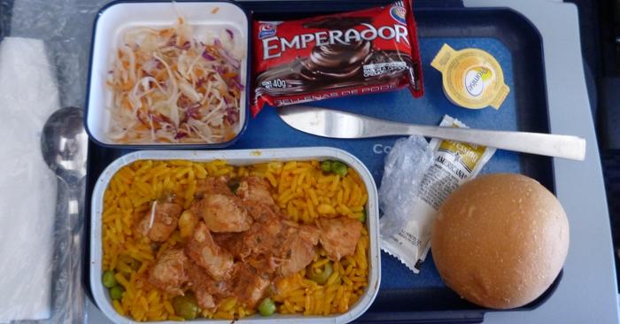 In-flight food.