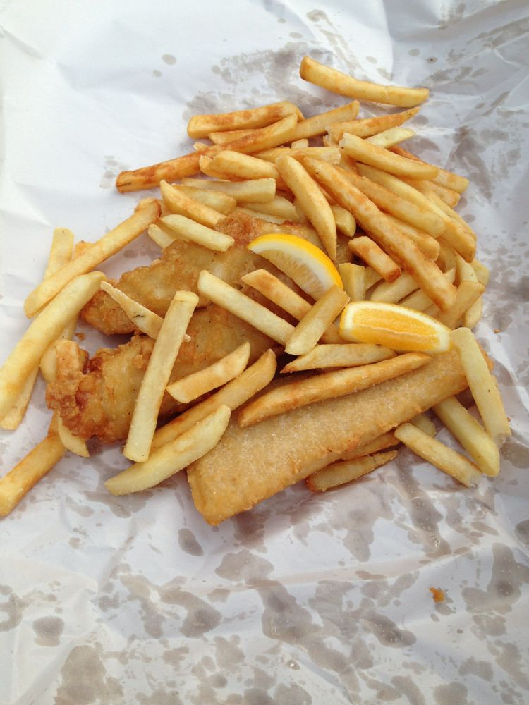 Fish and chips served on newspaper
