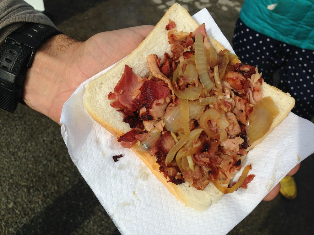 Bacon butty at the local farmer's market