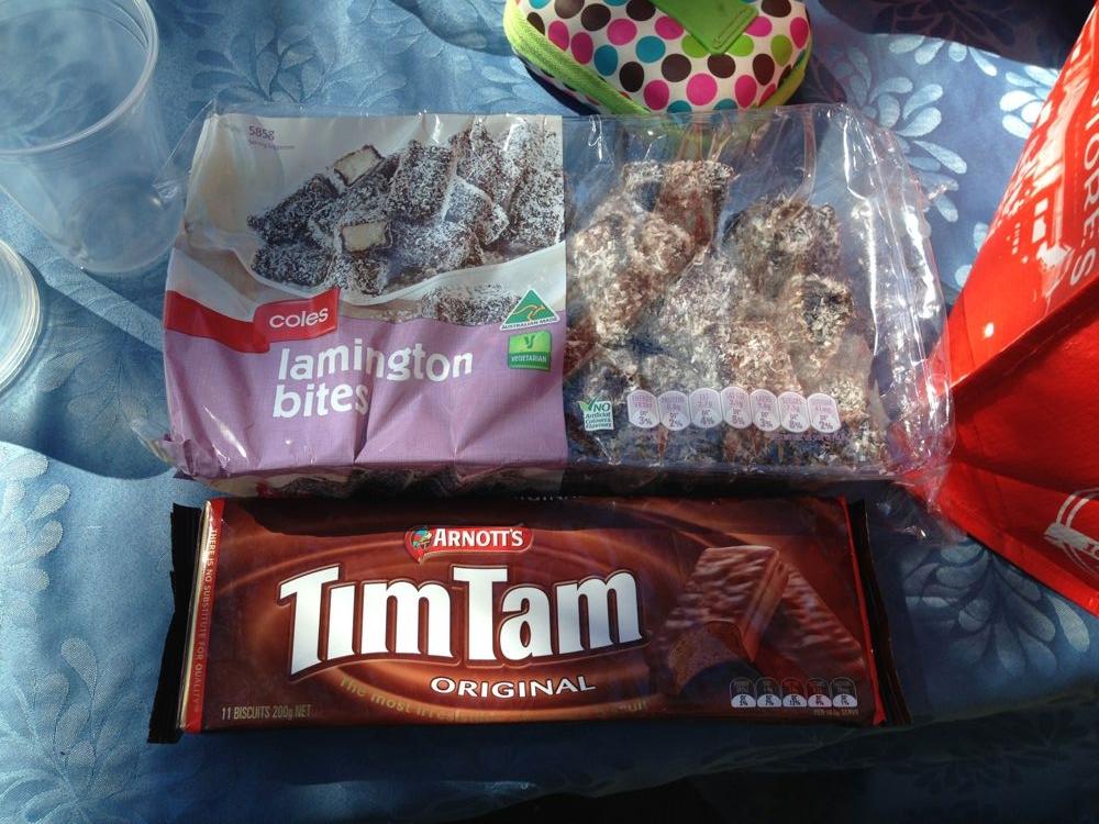 Lamington bites and Tim Tams
