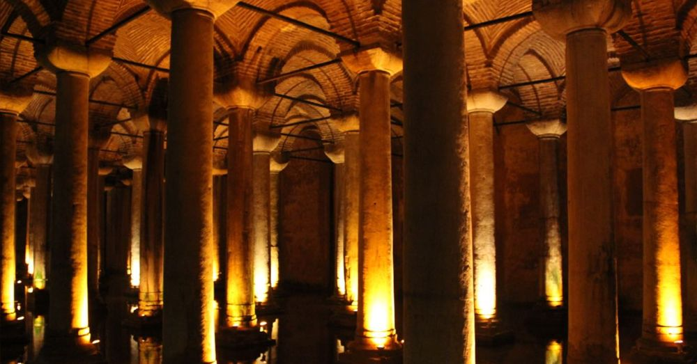 A few of the 336 columns in the Basilica Cistern.