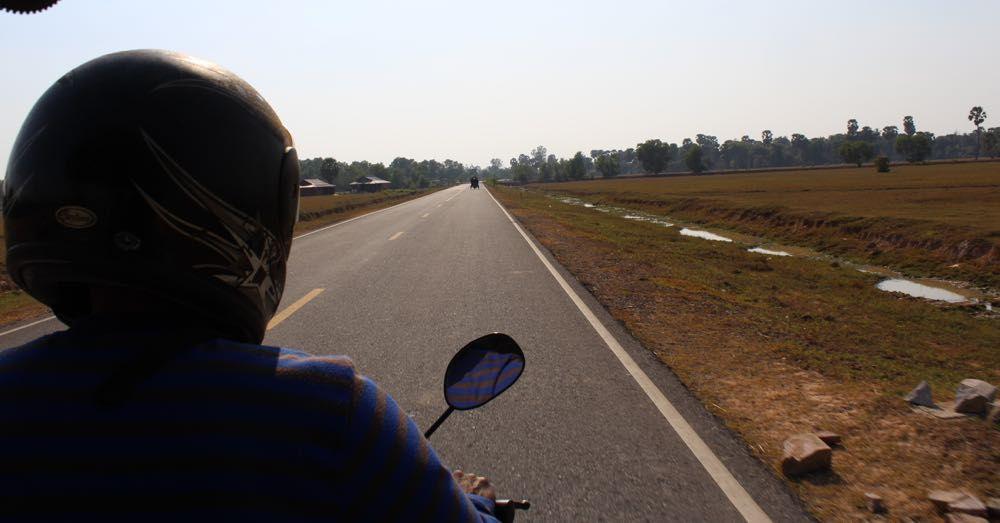 Straight road, tuk tuk.