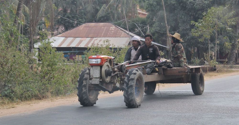 Two-Wheeled Tractor on the Road