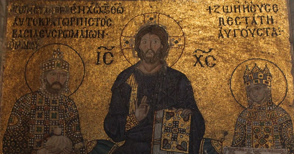 Emperor Constantine IX and Empress Zoë donate money to the Hagia Sofia while Jesus looks on.