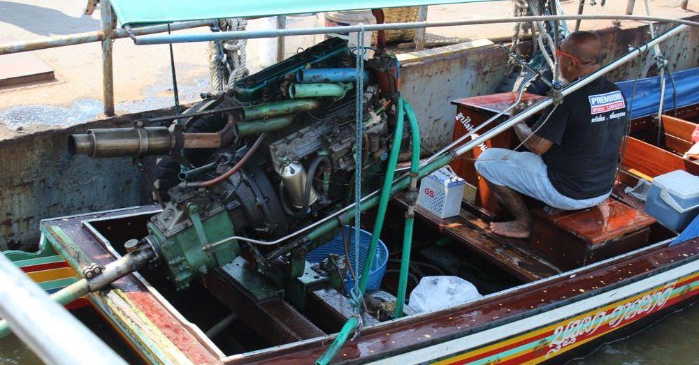 Long-tail boat motor.