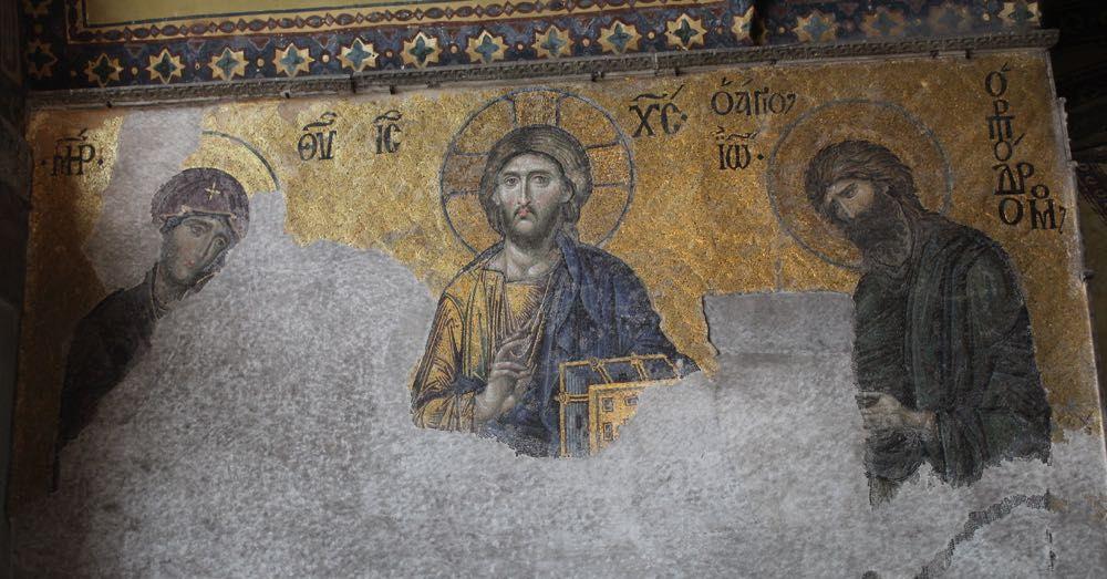 Virgin Mary, Jesus, and john hte Baptist