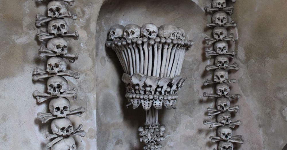 Bone chalice in Sedlec Ossuary.