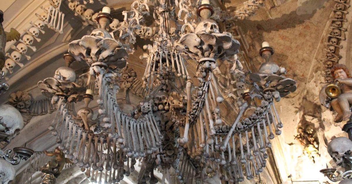 Sedlec Ossuary bone chandelier.