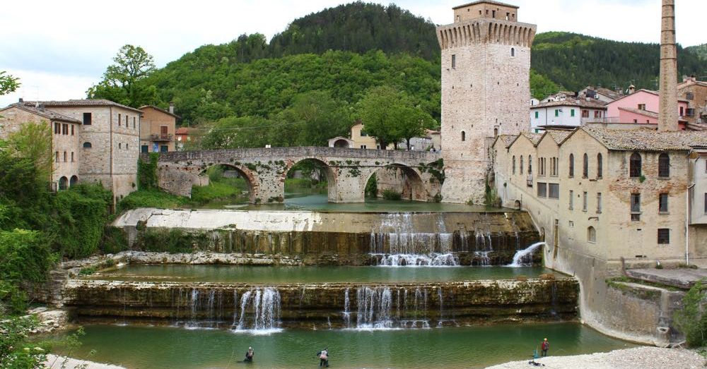 Tiered Waterfall, Roman Bridge, and Tower