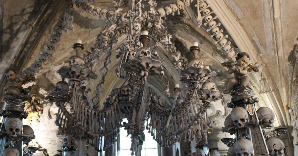 Skeletal Chandelier in Sedlec Ossuary