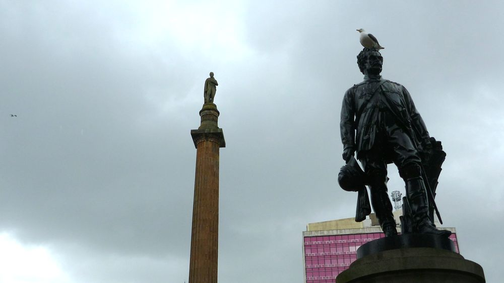 Seagulls enjoy the statues in George Square, especially that of Lord Clyde. Walter Scott stands tall in the background.