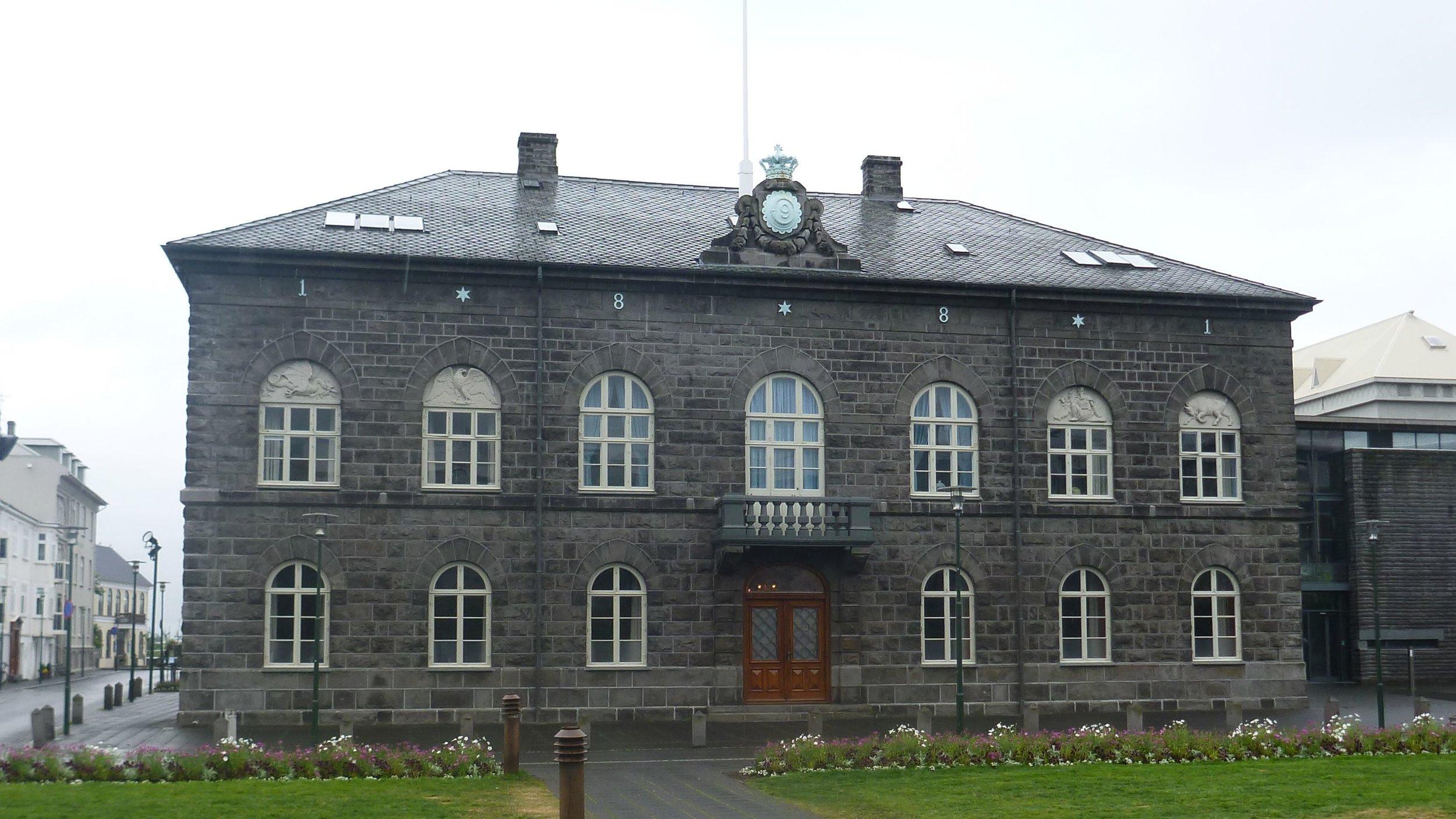 Parliament House ( Alþingishús ). Built in 1881.