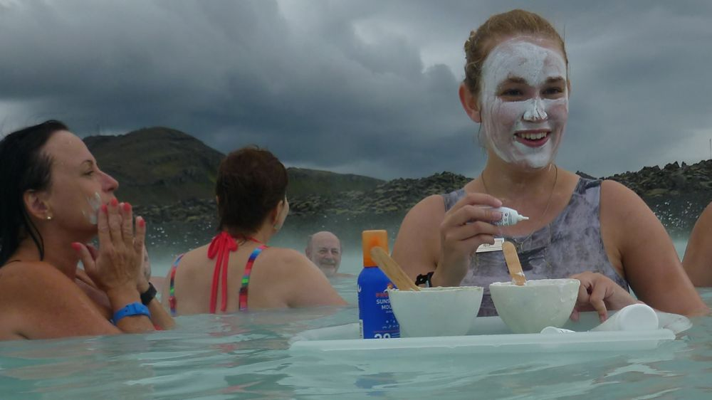 Free mud samples at the Blue Lagoon