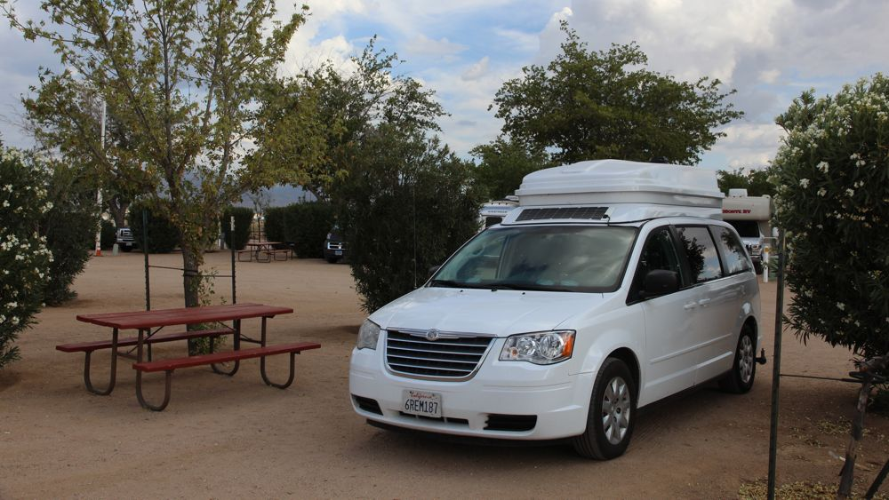 Our JUCY Trailblazer nestled into a campsite at the Kingman KOA.