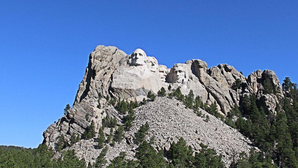 Mount Rushmore in the morning sun.