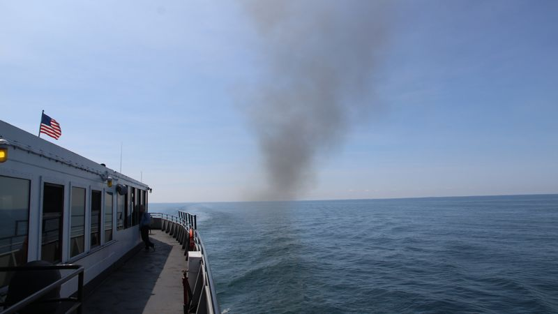 Coal smoke from the SS Badger billowing out across Lake Michigan.