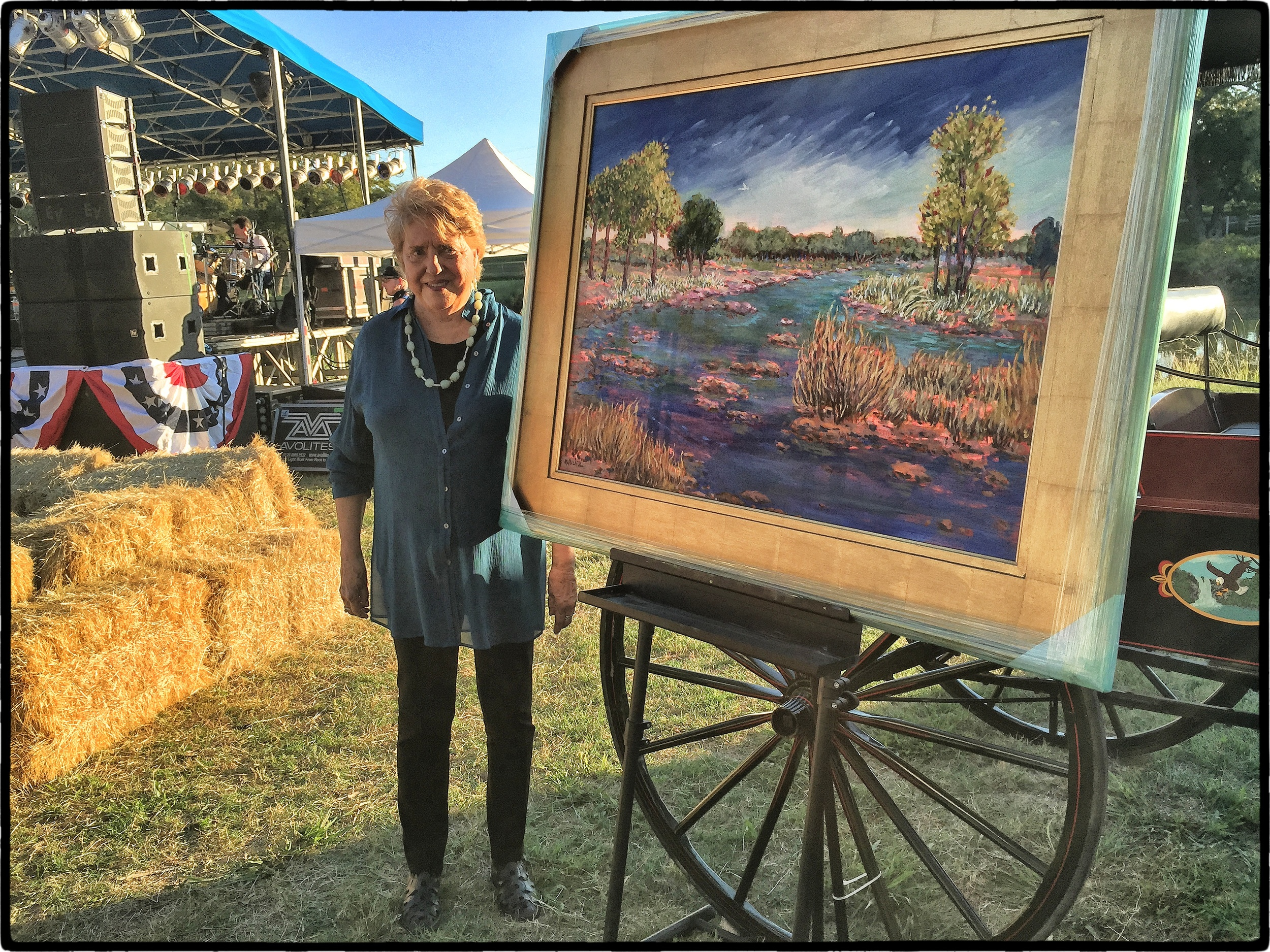 Painter Mary Bechtol with the piece that brought $3,000. for the Friends of LBJ Nat'l Park.  YAAAAY Mary!