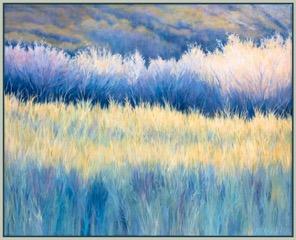 SEPTEMBER 25, 5 PM,   48h x 60w, framed in silverleaf floater frame