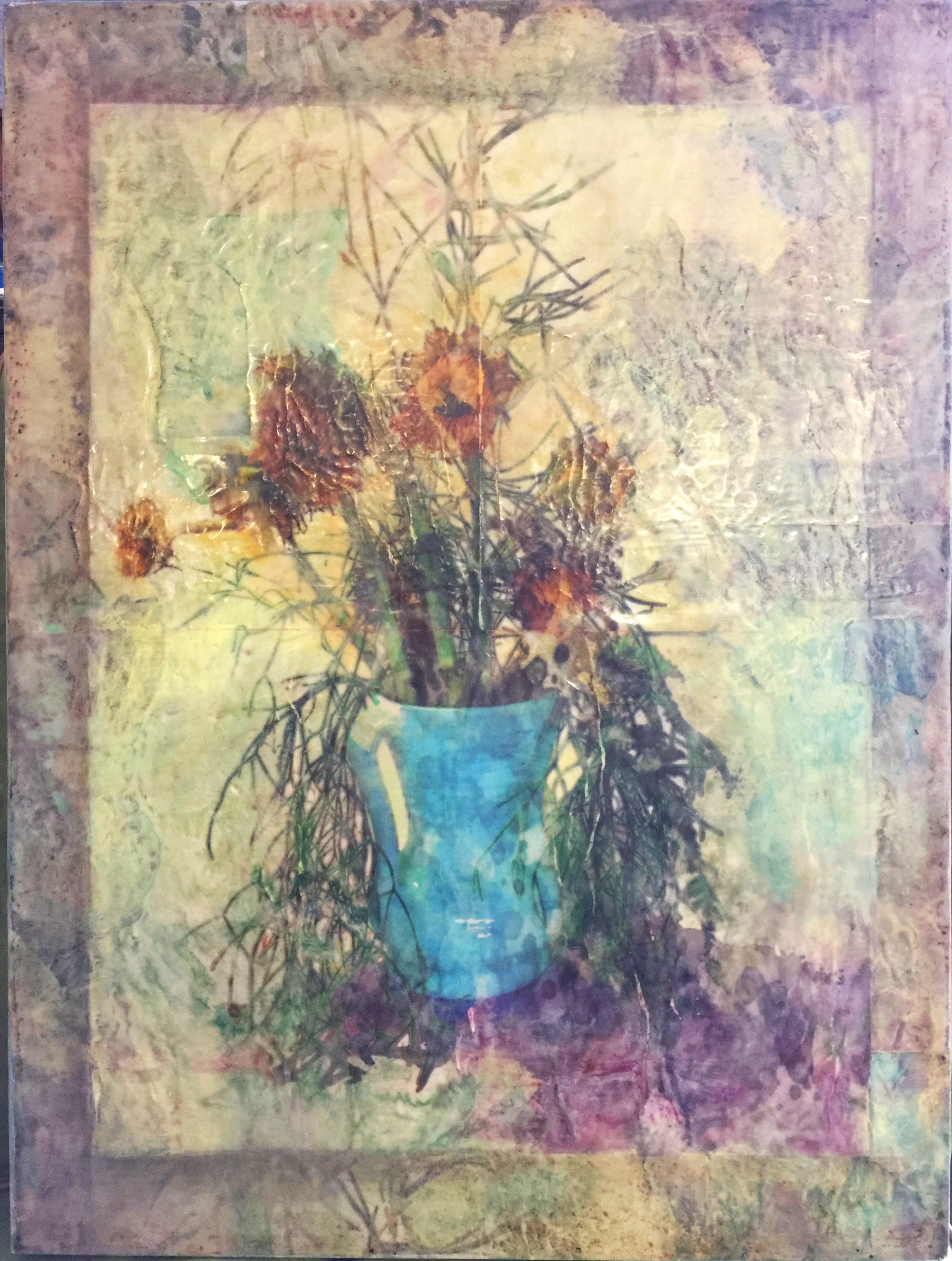 """Sunflowers    by S. Kirchman     18""""x24"""" Mixed Media Encaustic"""