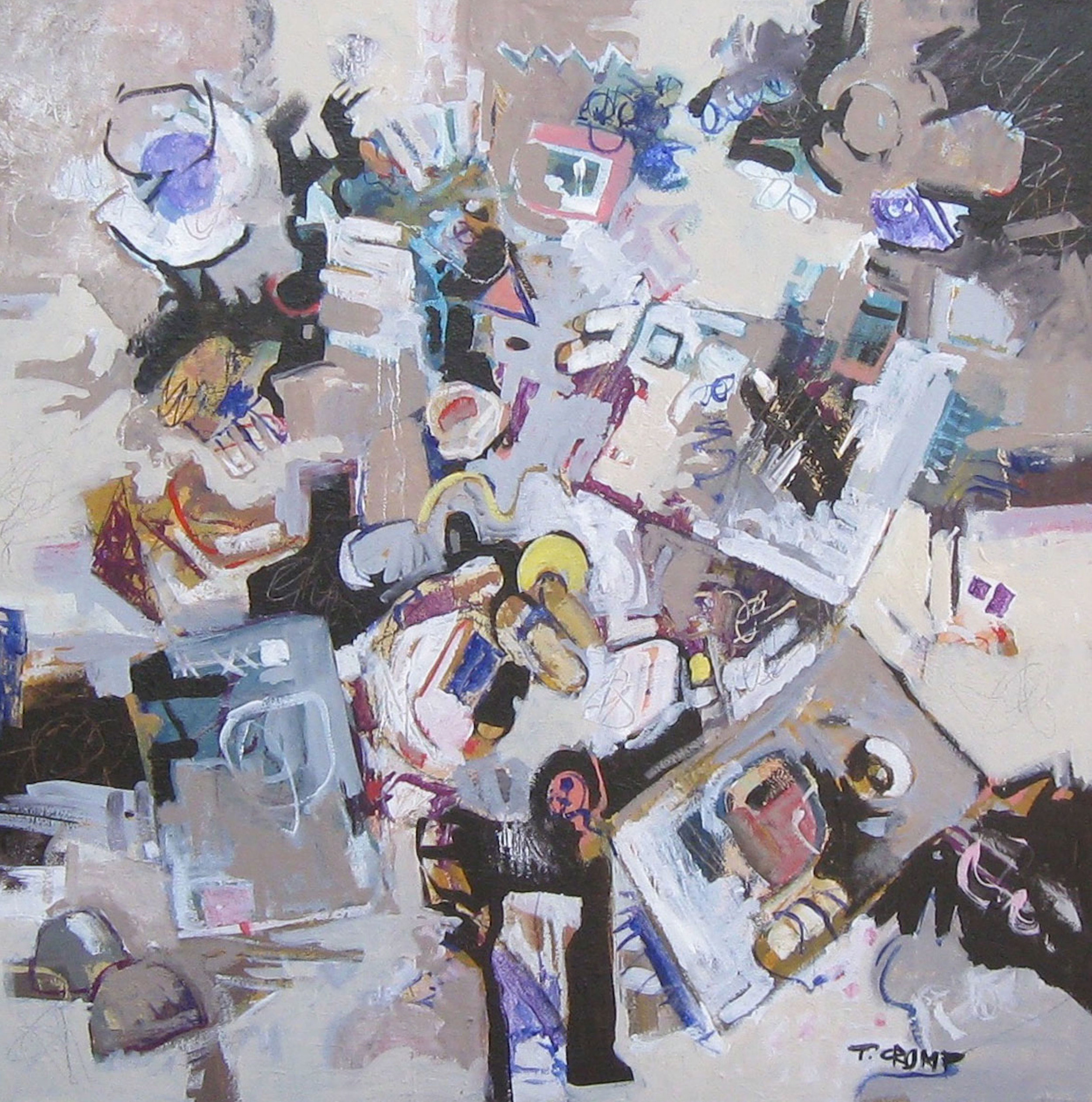 """Unboxing the New Toy   36"""" x 36"""" oil on canvas  by T. Crump"""