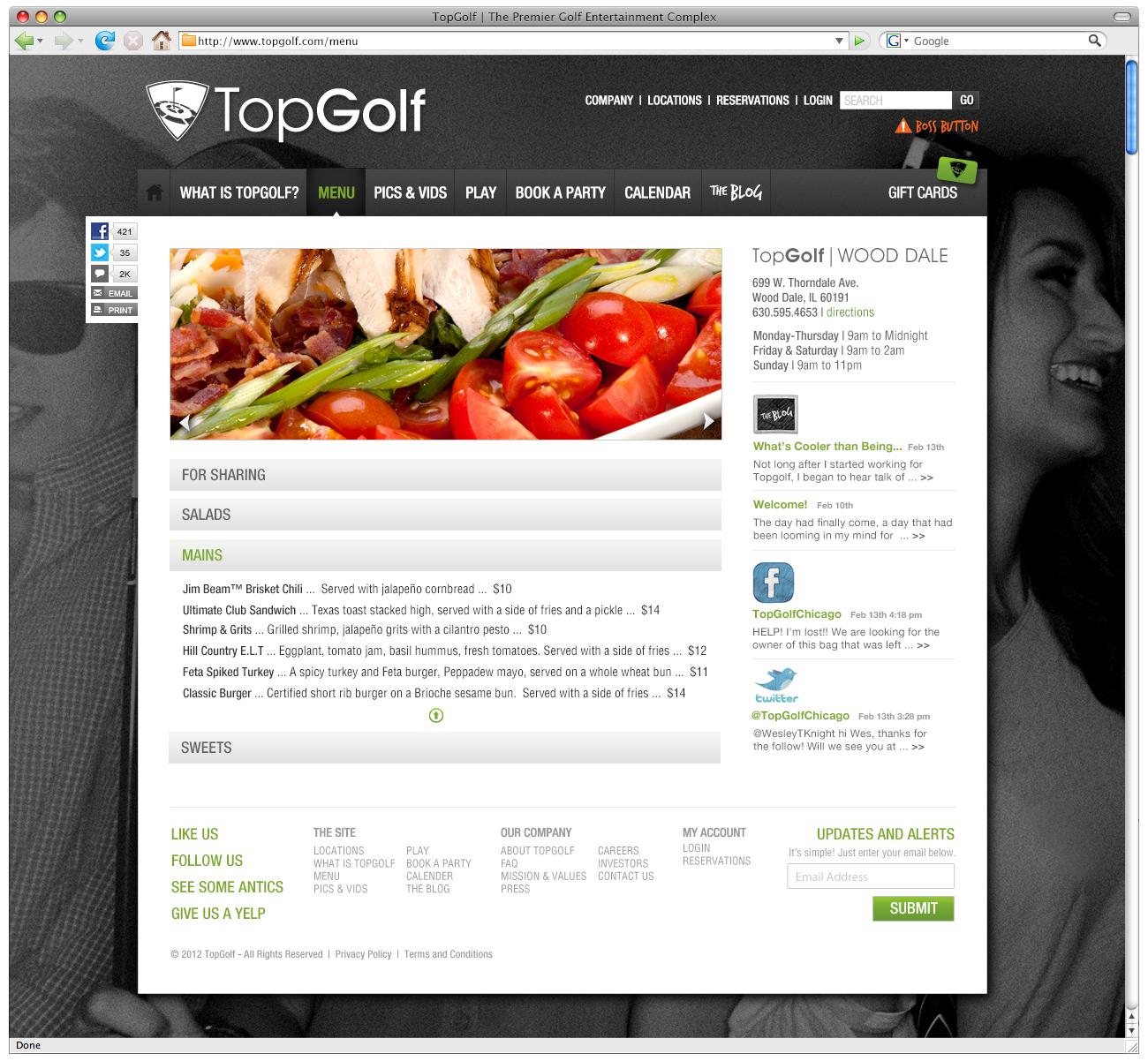 TopGolf Site Redesign 2012
