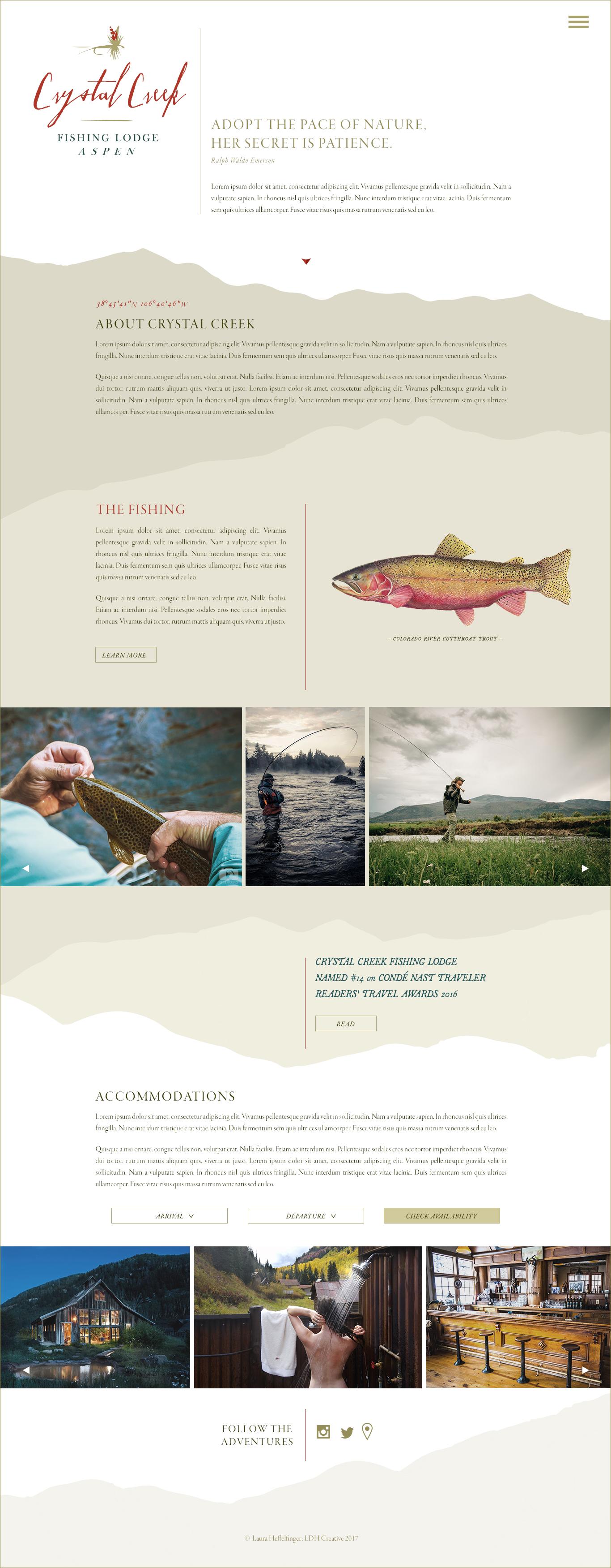 Crystal Creek Fishing Lodge; Website Concept